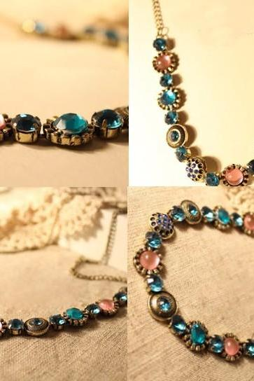 Diamante Elegant Short Chain Necklace Bohemia Style Colorful