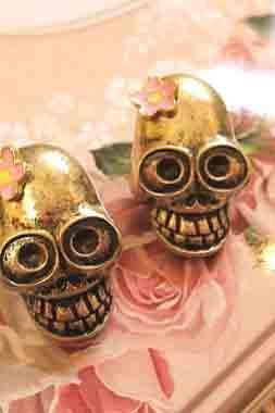 Lady Earring Punk Style Retro Bronze Skull Head
