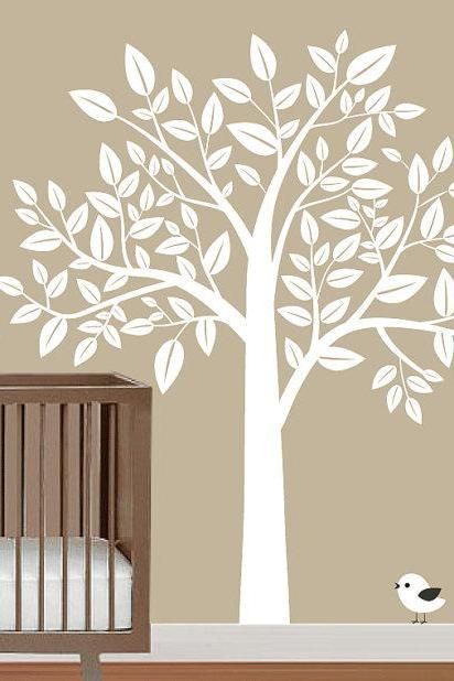 nursery big white Tree with Birds trees leaf bird home wall decal stcker decals decor baby bedroom room vinyl romoveralble 835