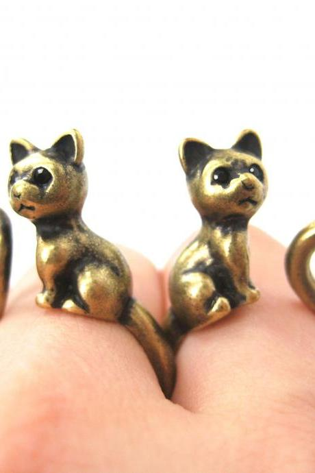 Kitty Cat Left and Right Facing Animal Wrap Ring in Brass - Sizes 4 to 9 Available