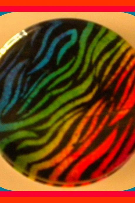 Magnet - Neon Zebra Print Magnet - 2-inch Glass Circle