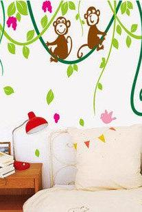 cute Monkeys Tree vine leaves leaf bird flower birds floral Art Decals Wall Sticker Vinyl Wall Decal stickers living bed kid baby room 623