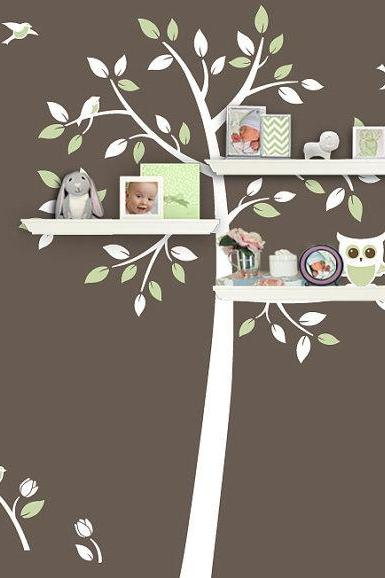 shelving Tree cute owl bird flower home Vinyl Wall Decal stickers living room bed baby room trees leaf leaves home Art Decals Wall Sticker