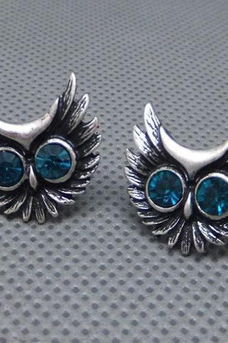 Cute Ear Stud Blue Eyed Antique Owl Turquoise European Style