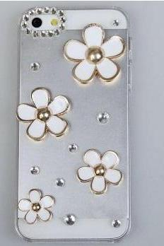 iPhone 5 cover Shining Rhinestones 3D Flowers Design Clear Plastic Hard Case