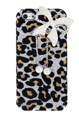 iPhone 5 fashion Case Butterfly and Leopard Design Artificial Pearl Plastic Hard Shell