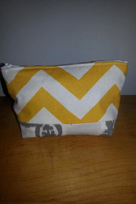 Small Yellow Chevron Make-up Pouch