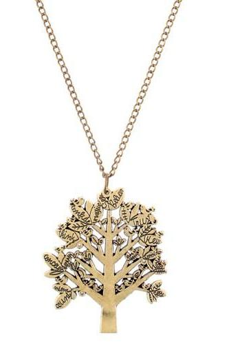 Sweater Chain Necklace Lightweight Tree Pendant