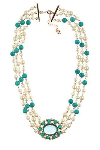 Fashion 3 Layers Necklace Jewelry White Pearl With Turquoise Beads