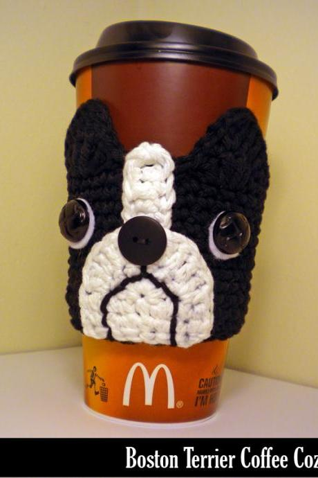 Boston Terrier Coffee Cozy Crochet Pattern
