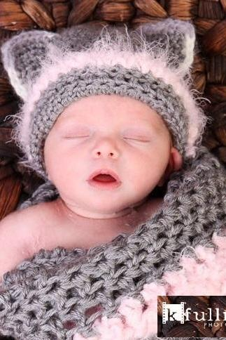 Newborn Kitty Cocoon set with Hat, Photo Prop