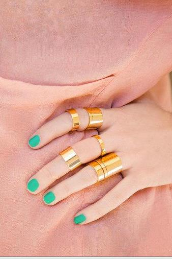 Rouelle AHAVA Cuff & Knuckle Rings: Set of 8 Dainty, Beautiful Gold Cuff and Knuckle Rings