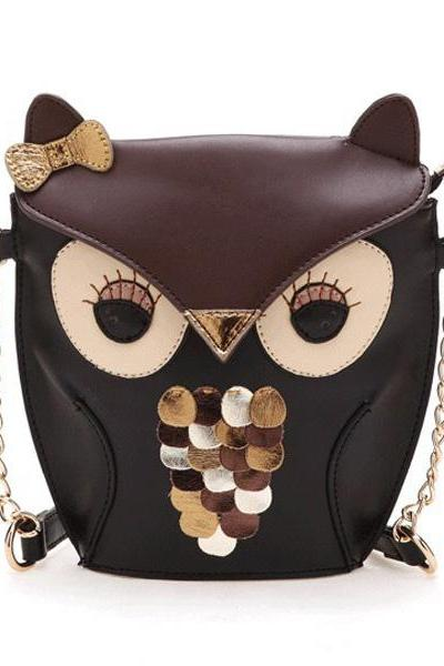 Free Shipping Cartoon Owl Print One Shoulder Bag