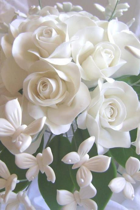 Wedding Bouquet White Rose White Butterflies Bridal Bouquet