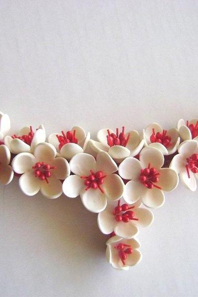 Blossoms Wedding Necklace - Red and White Bridal/Bridesmaid Necklace