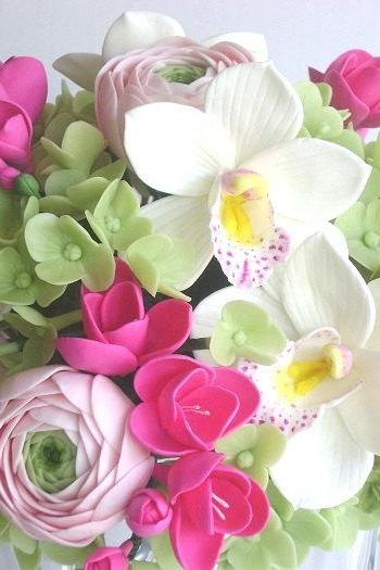 Wedding Bouquet. Hot Pink Fresia, Cymbidium Orchid, Ranunculus and Hydrangea Bridal Bouquet