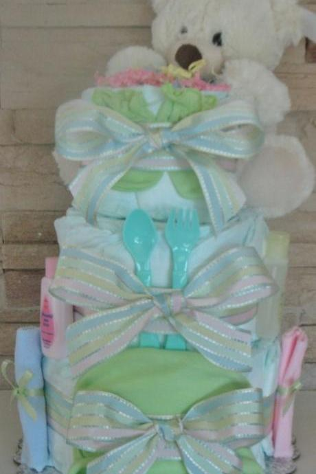 Neutral newborn Baby Diaper Cake