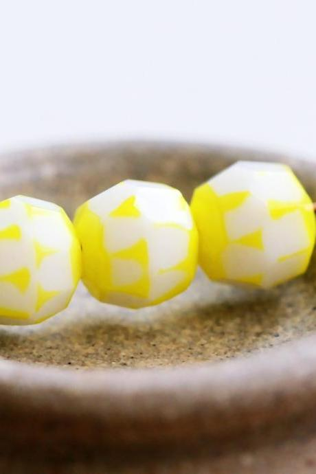 Vintage Bi-color White and Sunny Yellow Faceted Glass Beads
