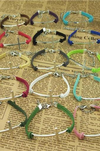 15 Colors Handmade charm bracelet,Cross Bracelet,Korean wax cords bracelet,Colorful ropes bracelet -Simple Gift or boys and girls