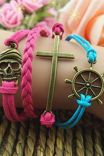 Handmade braid leather bracelet,Cross Bracelet,Rudder and Pirate Bracelet,Wax Cords Bracelet,Best Gift-Personalized Bracelet,Gift for girl