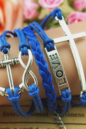 Personalized Jewelry Wholesale,Infinity & Anchor and Love Bracelet Cross bracelet, Antique Silver blue wax ropes and braid leather Bracelet