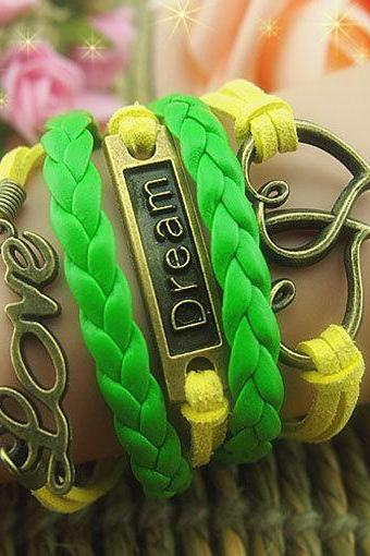 Green braid leather bracelet ,yellow wax cords bracelet, love Bracelet,Hearts Bracelet, dream bracelet Anchor Bronze bracelet -Free gift
