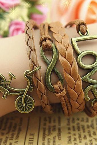 Braid leather bracelet infinity Unique love Bracelet Charm Bracelet Wax Cords chains Bracelet bicycle Bracelet Gifts for boys- Free Gift