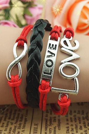 Endless Love Bracelet,Infinity bracelet,infinity love,Charm Bracelet,Black and Red braid leather jewelry ,christmas personalized gift