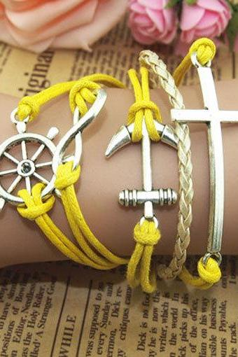Cross Bracelet,Anchor Bracelet, yellow wax cords Bracelet, Leather Bracelet charm bracelet,Personalized Bracelet-free gift