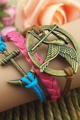 Unique Hand Chain Bird Anchor & Arrow Bracelet Wax Love Chain Cords Bracelet Gift Bracelet Romantic Girl's Gift Braid Leather Free Gift