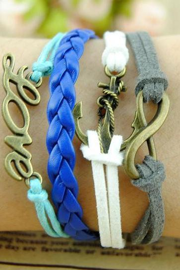 Fashion Charm Bracelet Anchor Ring, Endless LOVE Infinity Female Hand Chain Boyfriend GirlFriend Gifts friendship Wax Cords & leather Braid