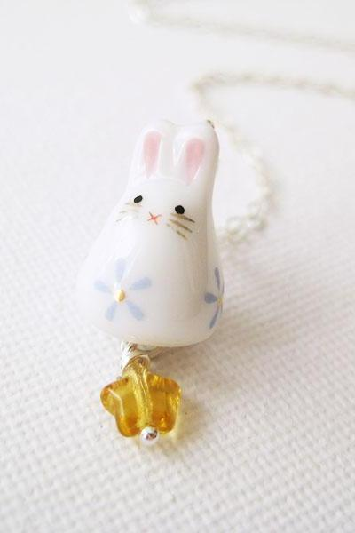 Sterling silver necklace with porcelain rabbit and glass - Bunny Wishes