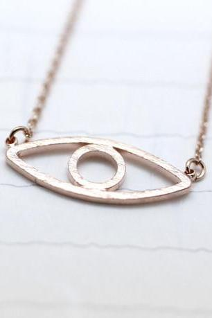 Cut-out EVIL EYE Pendant Necklace in Rose gold
