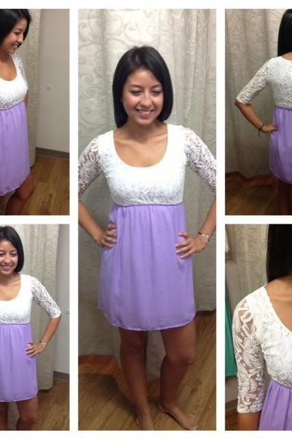 Lace 3/4 Sleeve Lavender Mini Dress