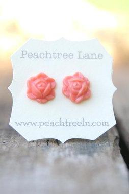 Coral Rose Flower Earrings // Bridesmaid Earrings // Bridesmaid Gifts // Rustic Vintage Wedding