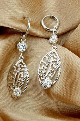 Charming Earrings Elegant Rhodium Plated