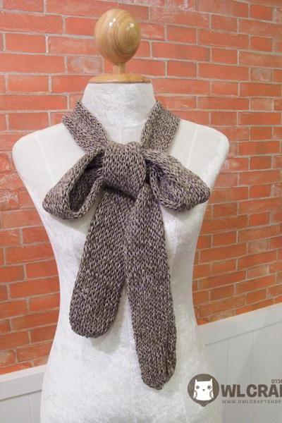Hand Knitted Narrow Long Cotton Scarf