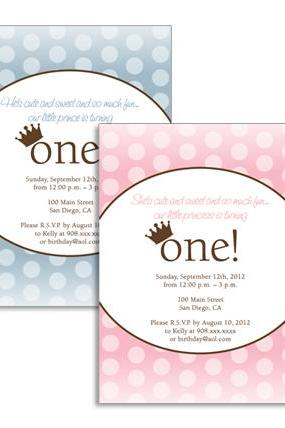 Prince / Princess First Birthday Invitation