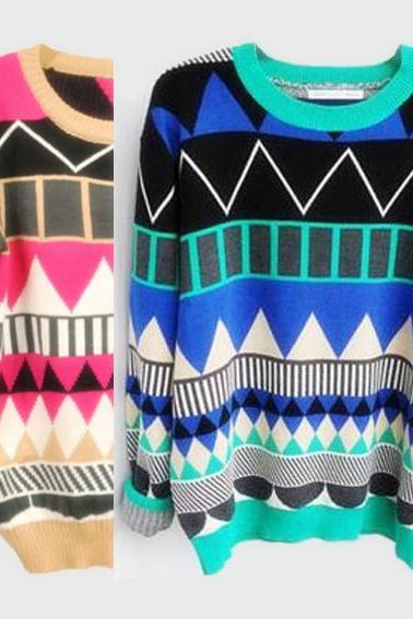 Diamond geometric pattern loose pullover-6656 L 080204