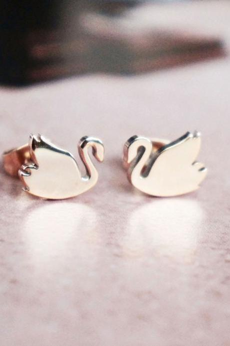 Swan stud earrings - rose gold titanium