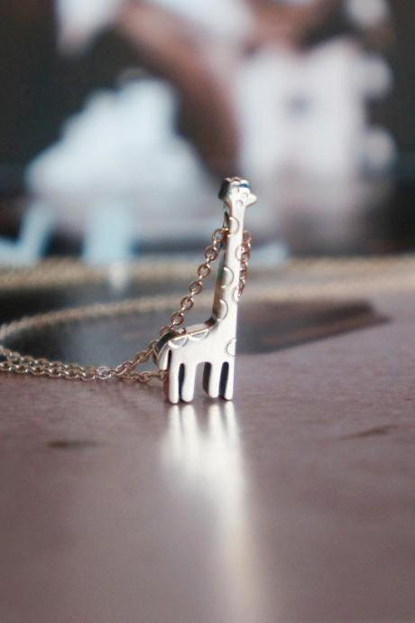 solid giraffe necklace - rose gold titanium