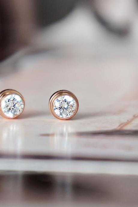 Crystal stud earrings, rose gold stainless steel, CZ Diamond studs, simple everyday jewelry for sensitive skin jewellery gift for her
