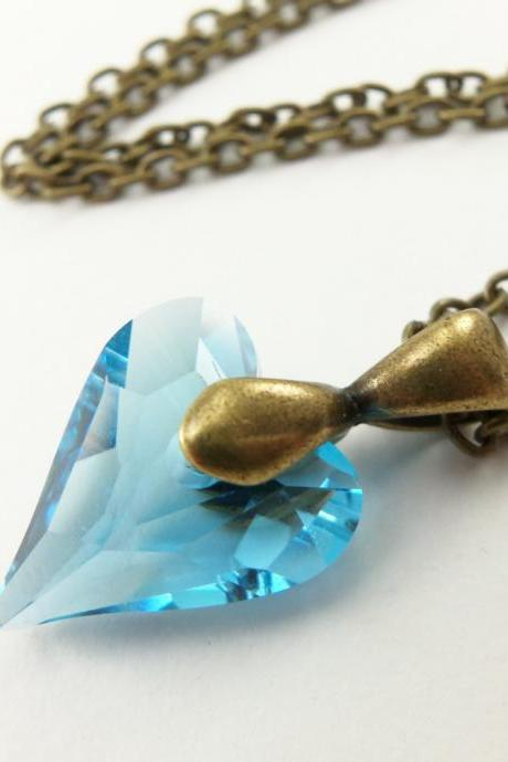 Aqua Necklace Crystal Heart Necklace Antiqued Brass March Birthstone Jewelry Aquamarine