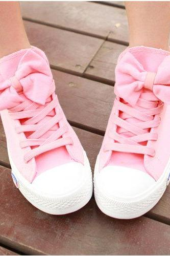High Help Lovely Bowknot Canvas Shoes-877 A 082606