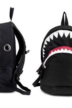 Black Big Shark Backpack From Pomelo