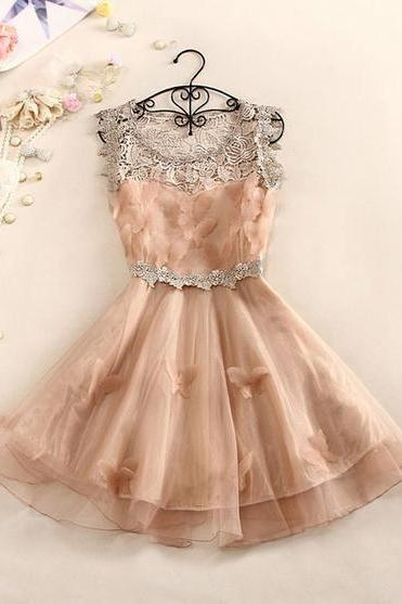 A 082609 A Sweet And Elegant Crochet Butterfly Organza Dress-6567