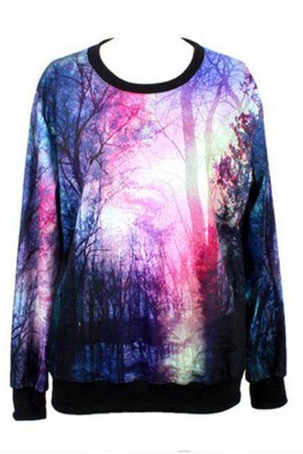 Free Shipping Woman Forest Pattern Polyester T-Shirt