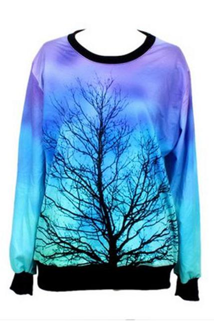 Free Shipping Dreamlike Moonlight Tree Pattern Tees/T-shirt