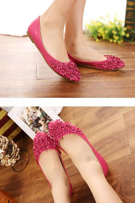 Sweet Floral Beading Pointed Flat Shoes