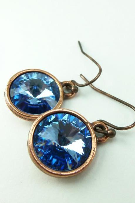 Light Sapphire Copper Drop Earrings Crystal Earrings Light Blue Dangle Earrings Blue Jewelry